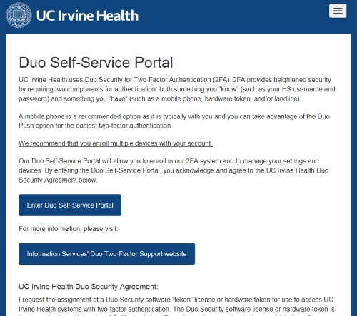 Duo Two Factor Support | UCI Health Information Services