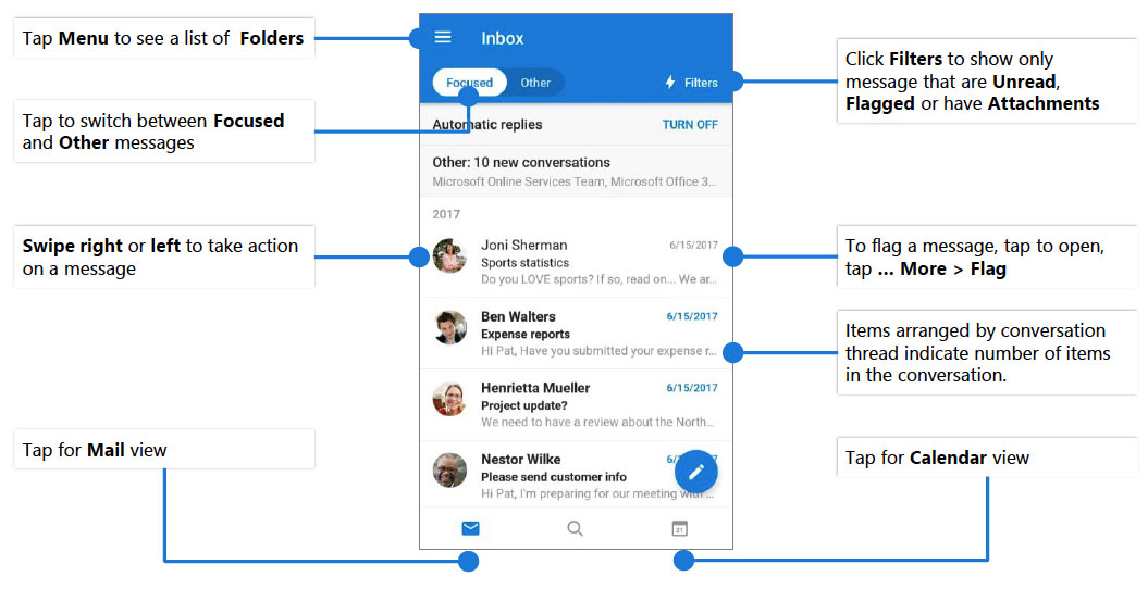 Outlook Mobile Cheat Sheet for Android | Desktop Support | UCI